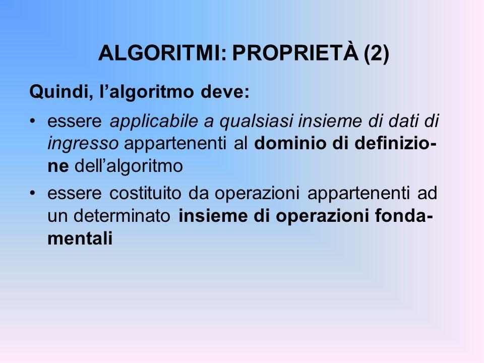 ALGORITMI: PROPRIETÀ (2) Quindi, l'algoritmo deve: essere applicabile a qualsiasi insieme di dati di ingresso appartenenti al dominio di definizio- ne dell'algoritmo essere costituito da operazioni appartenenti ad un determinato insieme di operazioni fonda- mentali