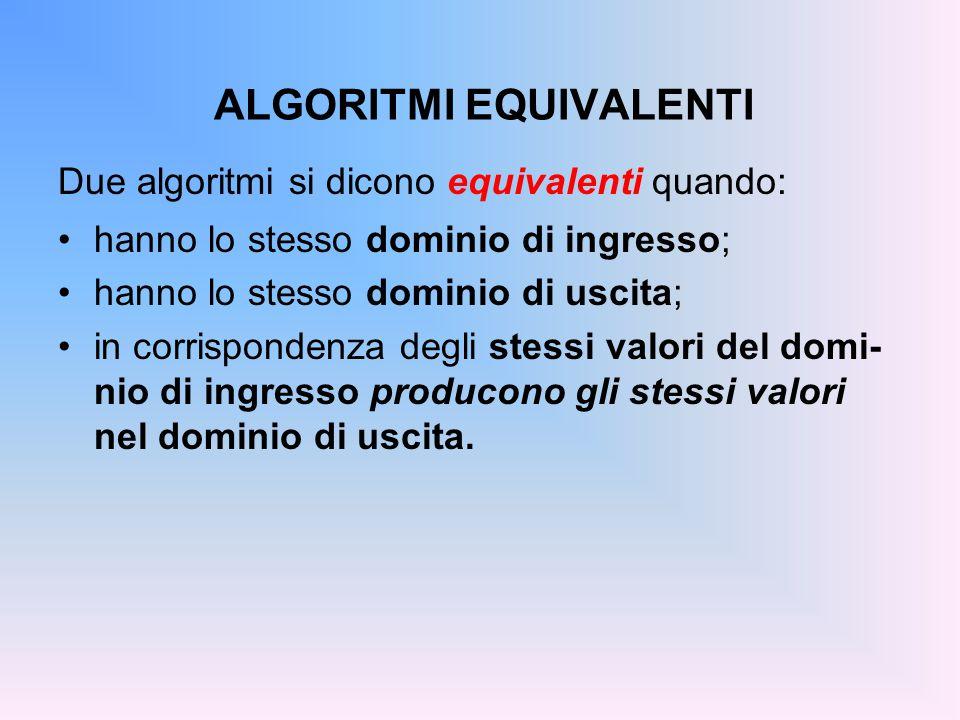 ALGORITMI EQUIVALENTI Due algoritmi si dicono equivalenti quando: hanno lo stesso dominio di ingresso; hanno lo stesso dominio di uscita; in corrispondenza degli stessi valori del domi- nio di ingresso producono gli stessi valori nel dominio di uscita.