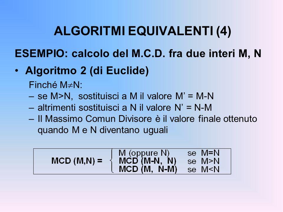ALGORITMI EQUIVALENTI (4) ESEMPIO: calcolo del M.C.D.