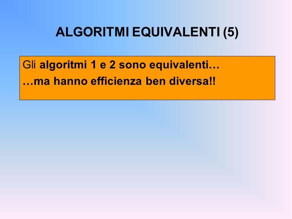 ALGORITMI EQUIVALENTI (5) Gli algoritmi 1 e 2 sono equivalenti… …ma hanno efficienza ben diversa!!