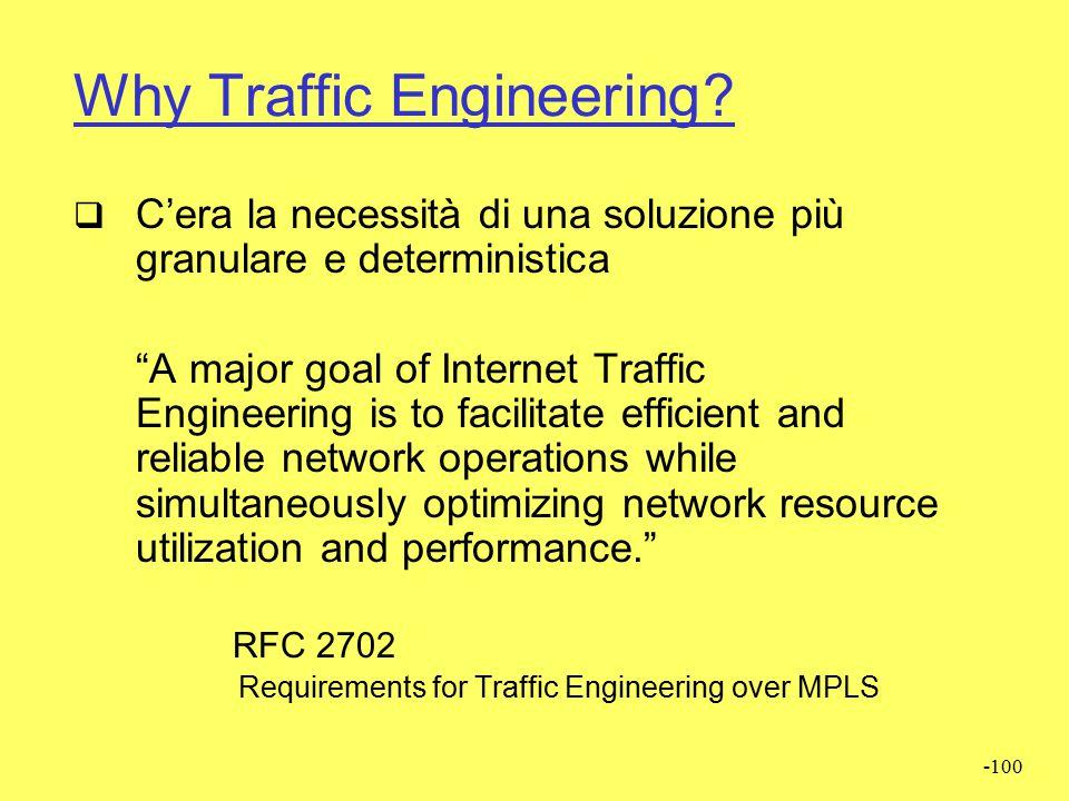 -99 Breve Storia  Metà anni 90  Grande crescita di Internet  Router troppo lenti  Metric engineering di IGP troppo complessa  Il calcolo delle ta