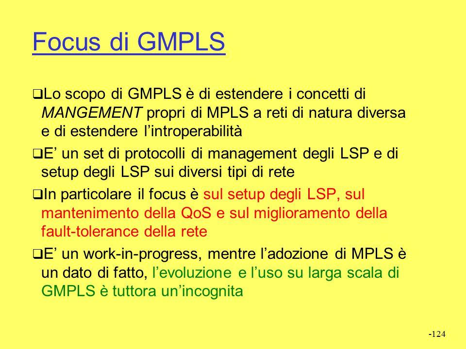 -123 MPLS  GMPLS  GMPLS - Generalized MPLS  MPLS è stato progettato per 802.x, ATM, Frame Relay…  Ora ci sono le reti lambda switched, SDH, etc. 