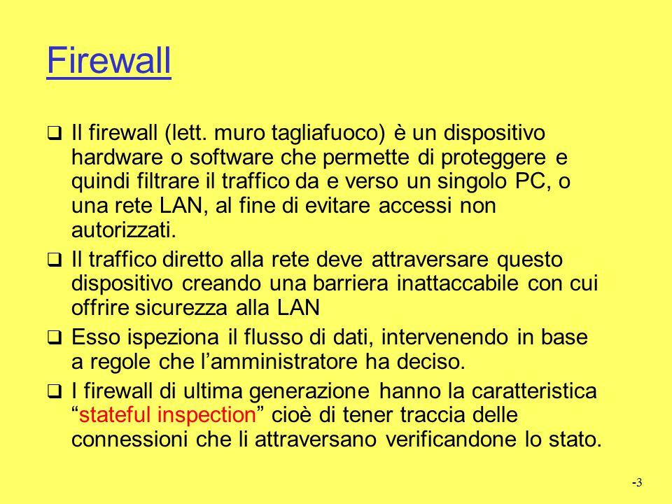 -2 Firewall  Router con funzionalità aggiuntive collocato tra una rete privata e il resto di Internet  Inoltra/filtra i pacchetti che lo attraversa