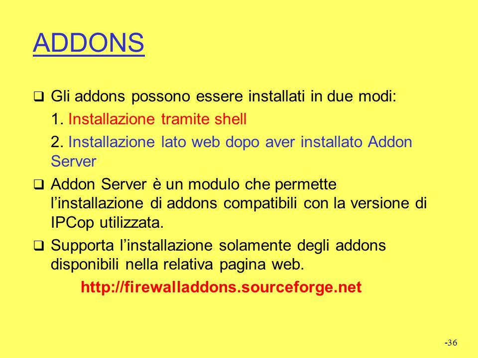 """-35 ADDONS  IPCop può essere reso più performante e più versatile mediante l'installazione di alcuni moduli o software aggiuntivi detti """"ADDONS"""".  L"""