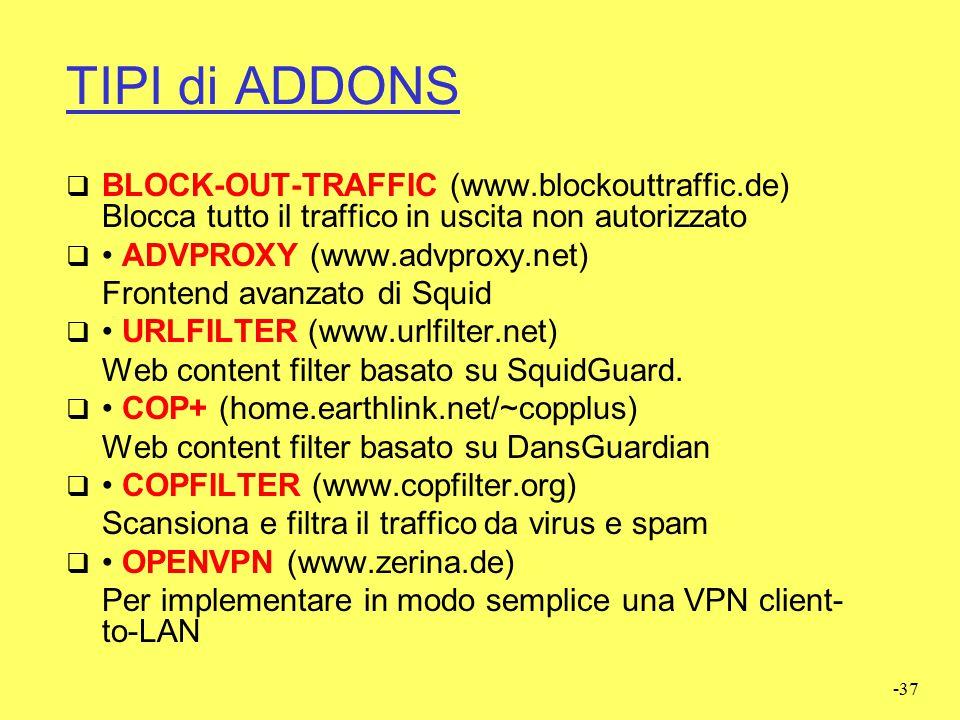 -36 ADDONS  Gli addons possono essere installati in due modi: 1. Installazione tramite shell 2. Installazione lato web dopo aver installato Addon Ser