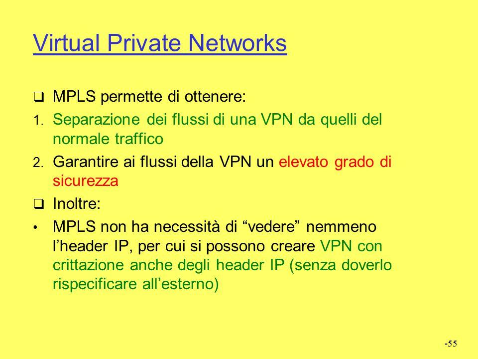 """-54 Traffic Engineering  Il routing """"tradizionale"""" IP (e.g., OSPF) non prevede cammini multipli e opera su base pacchetto.  MPLS opera su base fluss"""