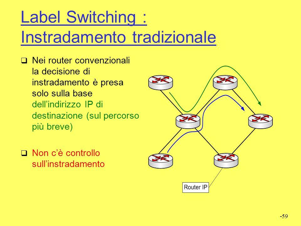 -58 Label Switching: Generalità  È una tecnica di instradamento che introduce meccanismi orientati alla commutazione di circuito in ambienti a commut