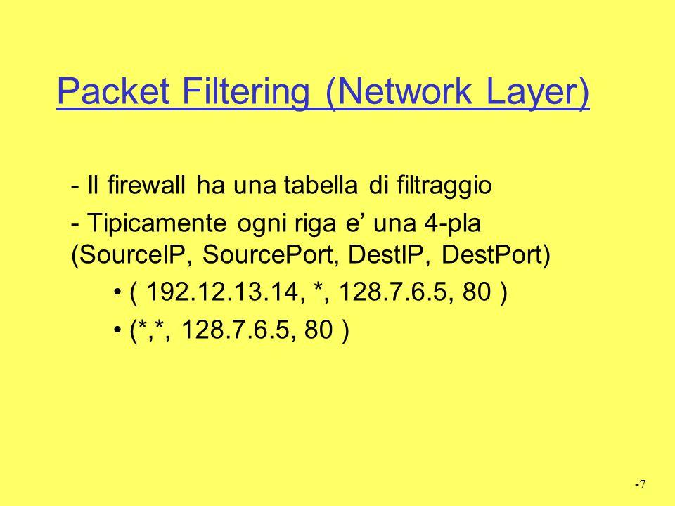 -6 Packet Filtering (Network Layer)  Filtraggio basato su header pacchetti (su ogni singolo pkt)  IP source/destination  UDP/TCP Source/destinat