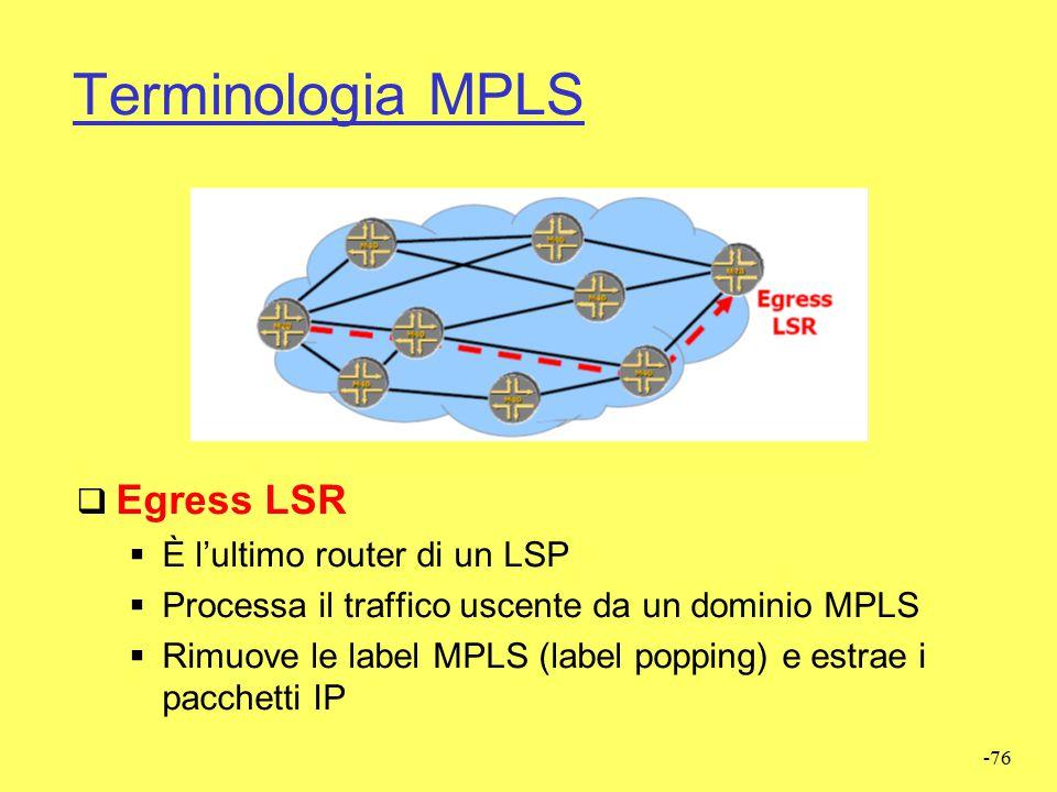 -75 Terminologia MPLS  Transit LSR  È un router intermedio di un LSP  Processa il traffico all'interno di un dominio MPLS  Esegue il forwarding de