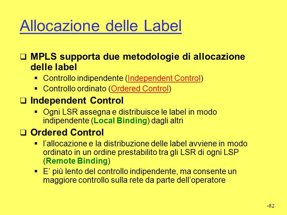 -81 Label Distribution Protocol (LDP)  Protocollo di controllo  Insieme procedure con cui un LSR comunica ad un altro LSR l'esecuzione di un binding