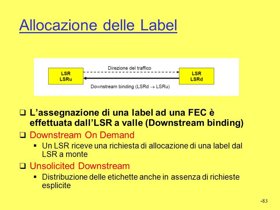 -82 Allocazione delle Label  MPLS supporta due metodologie di allocazione delle label  Controllo indipendente (Independent Control)  Controllo ordi