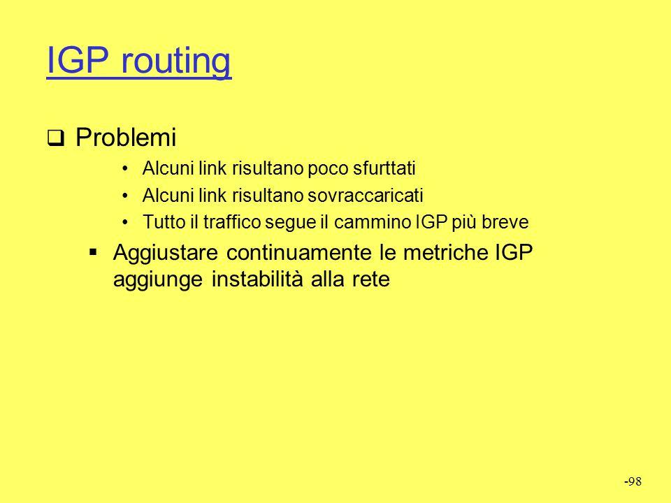 -97 IGP routing  Traffic engineering  Fare il reinstradamento del flusso di traffico indirizzato ad A attraverso C causa un reinstradamento anche de