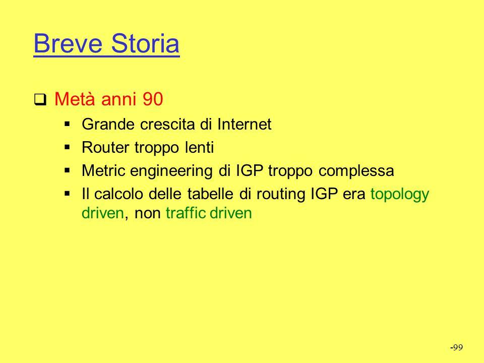 -98 IGP routing  Problemi Alcuni link risultano poco sfurttati Alcuni link risultano sovraccaricati Tutto il traffico segue il cammino IGP più breve