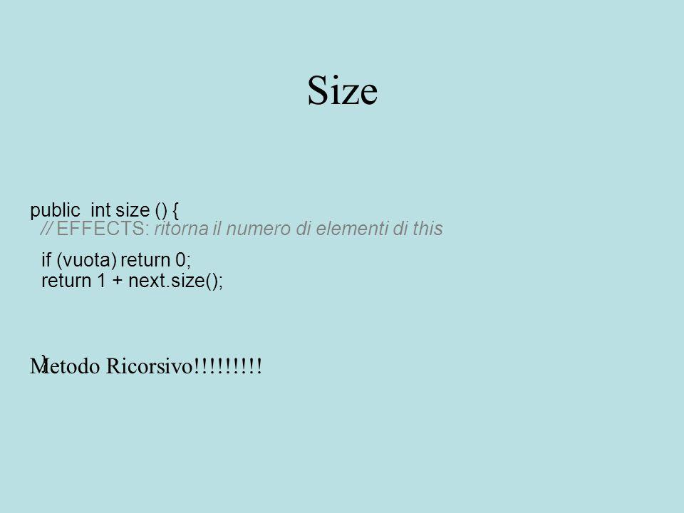 Size public int size () { // EFFECTS: ritorna il numero di elementi di this if (vuota) return 0; return 1 + next.size(); } Metodo Ricorsivo!!!!!!!!!