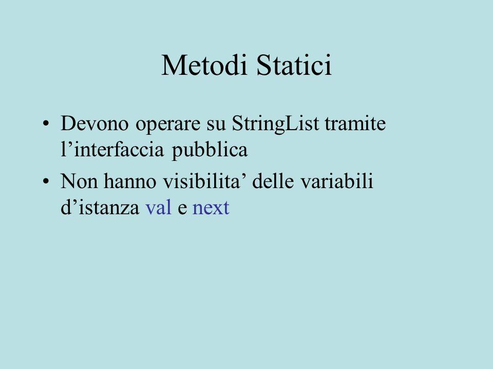 Metodi Statici Devono operare su StringList tramite l'interfaccia pubblica Non hanno visibilita' delle variabili d'istanza val e next