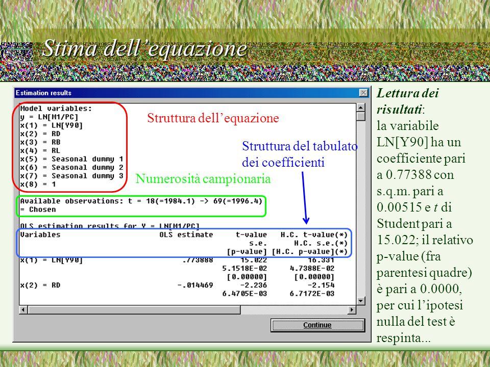Stima dell'equazione Struttura dell'equazione Numerosità campionaria Struttura del tabulato dei coefficienti Lettura dei risultati: la variabile LN[Y90] ha un coefficiente pari a 0.77388 con s.q.m.