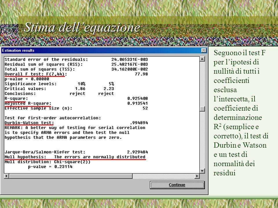 Stima dell'equazione Seguono il test F per l'ipotesi di nullità di tutti i coefficienti esclusa l'intercetta, il coefficiente di determinazione R 2 (semplice e corretto), il test di Durbin e Watson e un test di normalità dei residui