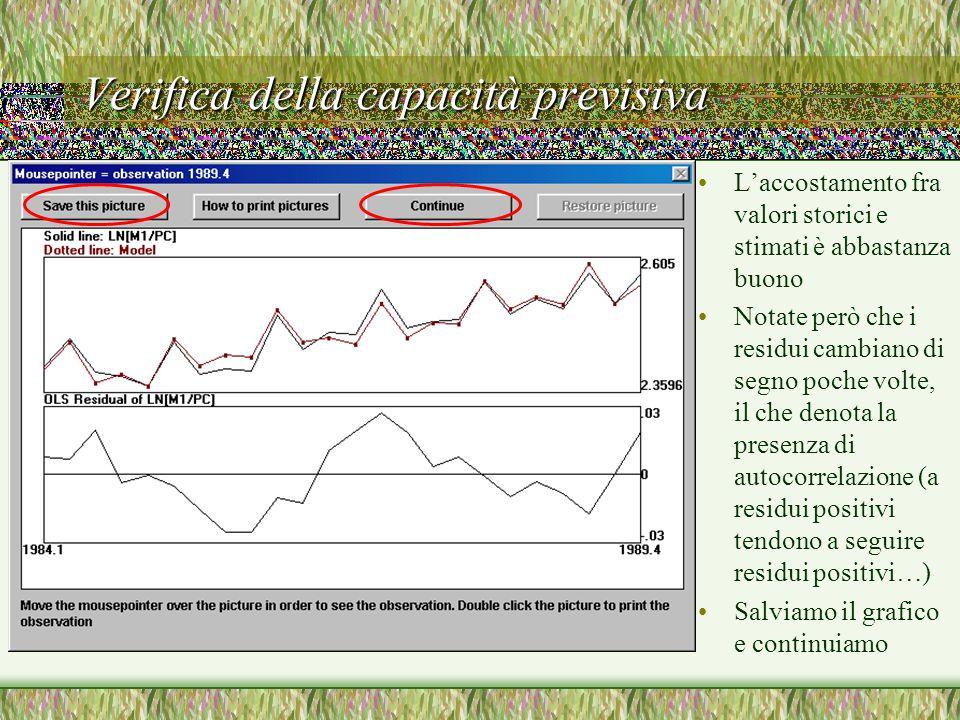 Verifica della capacità previsiva L'accostamento fra valori storici e stimati è abbastanza buono Notate però che i residui cambiano di segno poche volte, il che denota la presenza di autocorrelazione (a residui positivi tendono a seguire residui positivi…) Salviamo il grafico e continuiamo