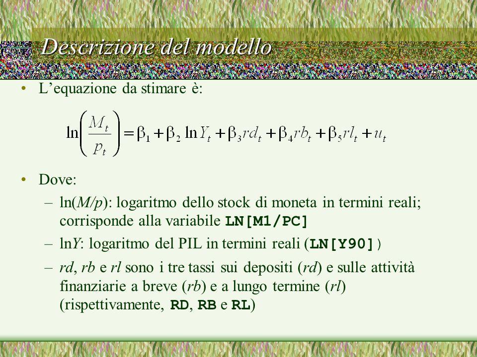 Descrizione del modello L'equazione da stimare è: Dove: –ln(M/p): logaritmo dello stock di moneta in termini reali; corrisponde alla variabile LN[M1/PC] –lnY: logaritmo del PIL in termini reali ( LN[Y90]) –rd, rb e rl sono i tre tassi sui depositi (rd) e sulle attività finanziarie a breve (rb) e a lungo termine (rl) (rispettivamente, RD, RB e RL )