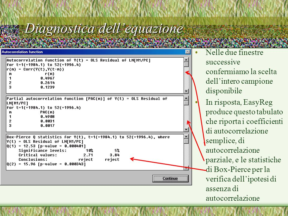 Diagnostica dell'equazione Nelle due finestre successive confermiamo la scelta dell'intero campione disponibile In risposta, EasyReg produce questo tabulato che riporta i coefficienti di autocorrelazione semplice, di autocorrelazione parziale, e le statistiche di Box-Pierce per la verifica dell'ipotesi di assenza di autocorrelazione