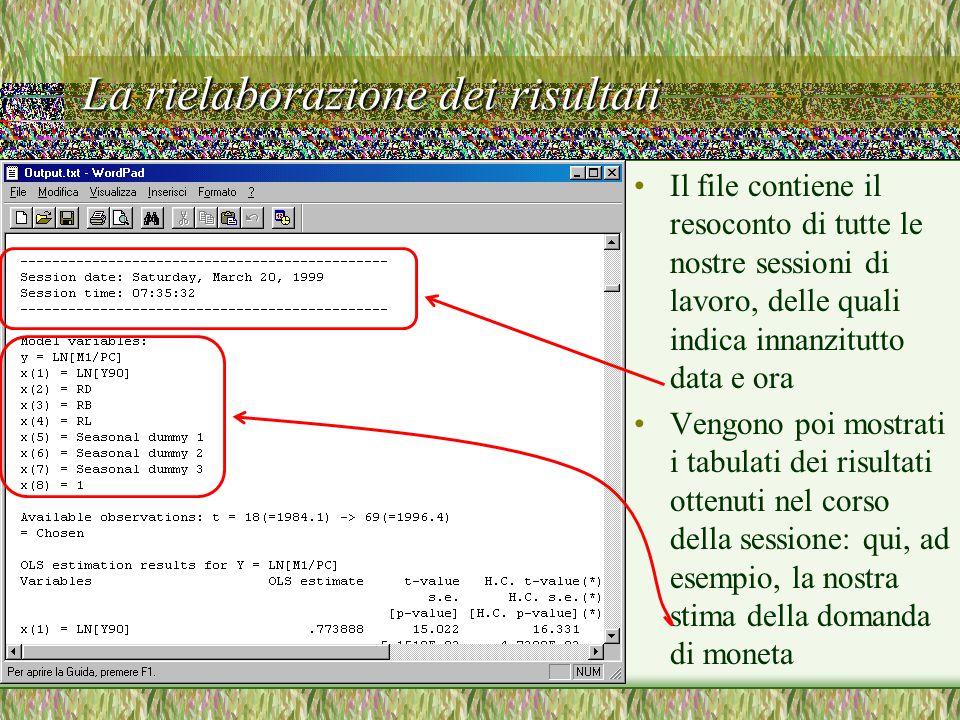 La rielaborazione dei risultati Il file contiene il resoconto di tutte le nostre sessioni di lavoro, delle quali indica innanzitutto data e ora Vengono poi mostrati i tabulati dei risultati ottenuti nel corso della sessione: qui, ad esempio, la nostra stima della domanda di moneta