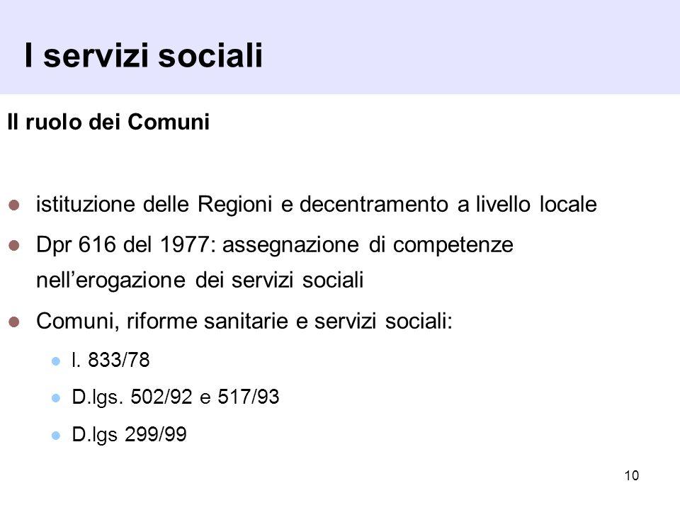 10 I servizi sociali Il ruolo dei Comuni istituzione delle Regioni e decentramento a livello locale Dpr 616 del 1977: assegnazione di competenze nell'