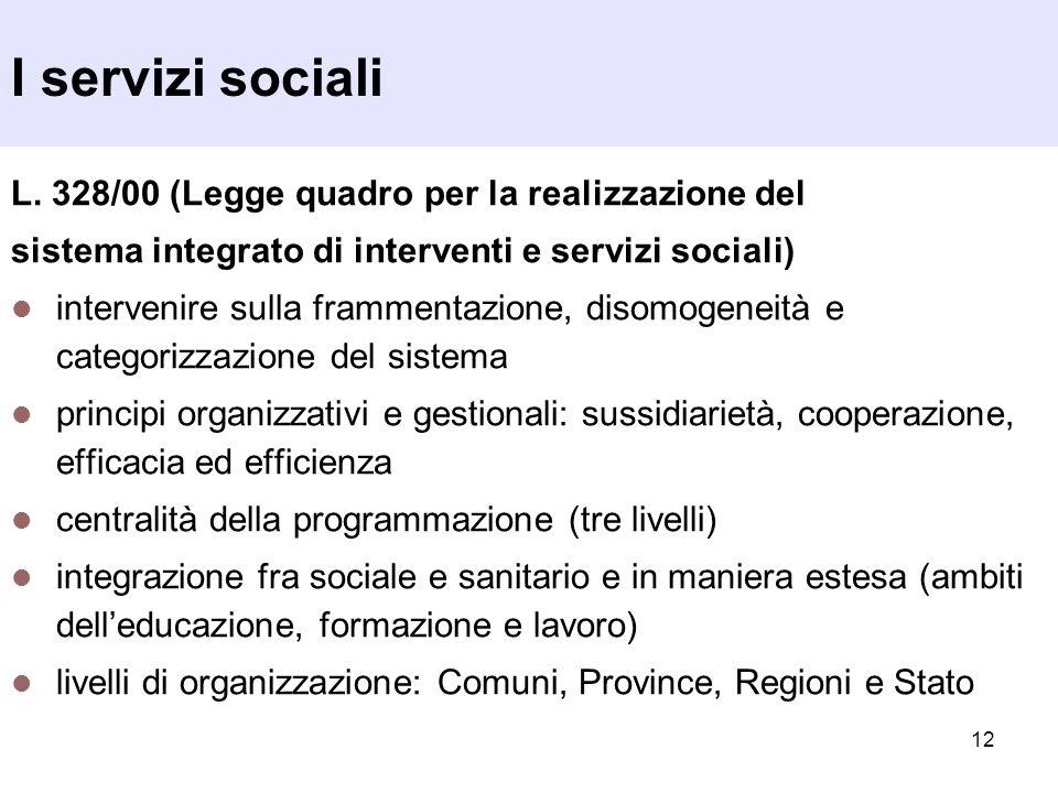 12 I servizi sociali L. 328/00 (Legge quadro per la realizzazione del sistema integrato di interventi e servizi sociali) intervenire sulla frammentazi