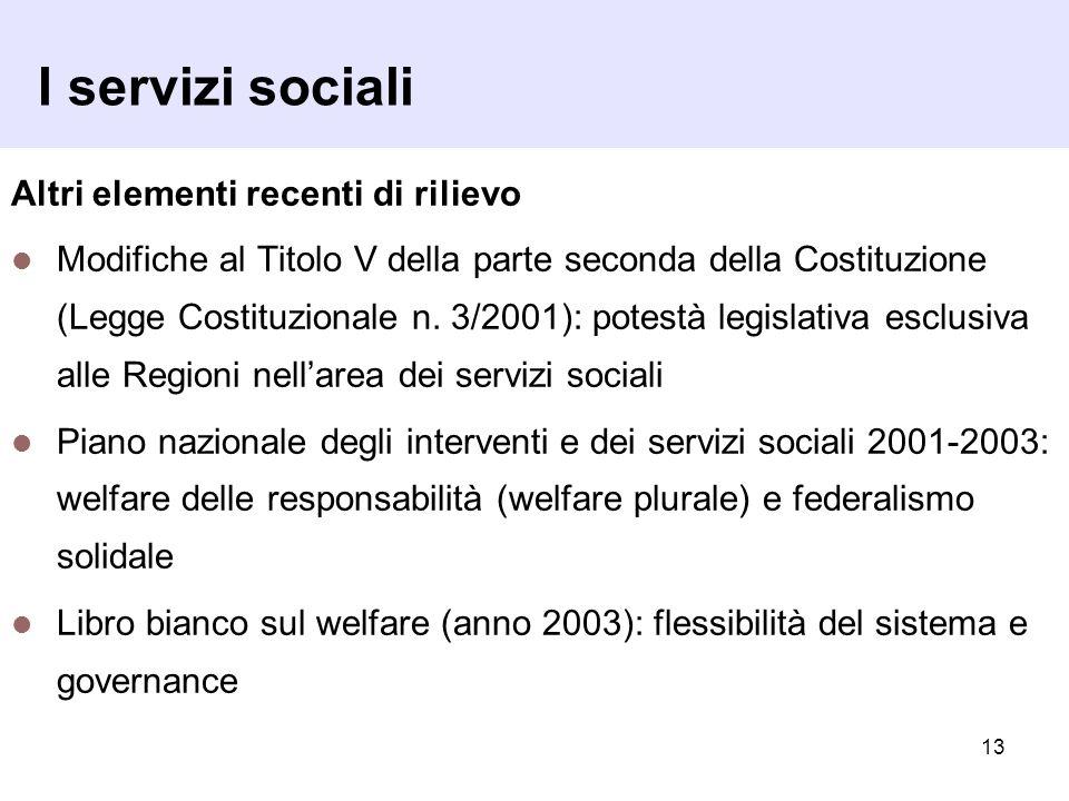 13 I servizi sociali Altri elementi recenti di rilievo Modifiche al Titolo V della parte seconda della Costituzione (Legge Costituzionale n. 3/2001):