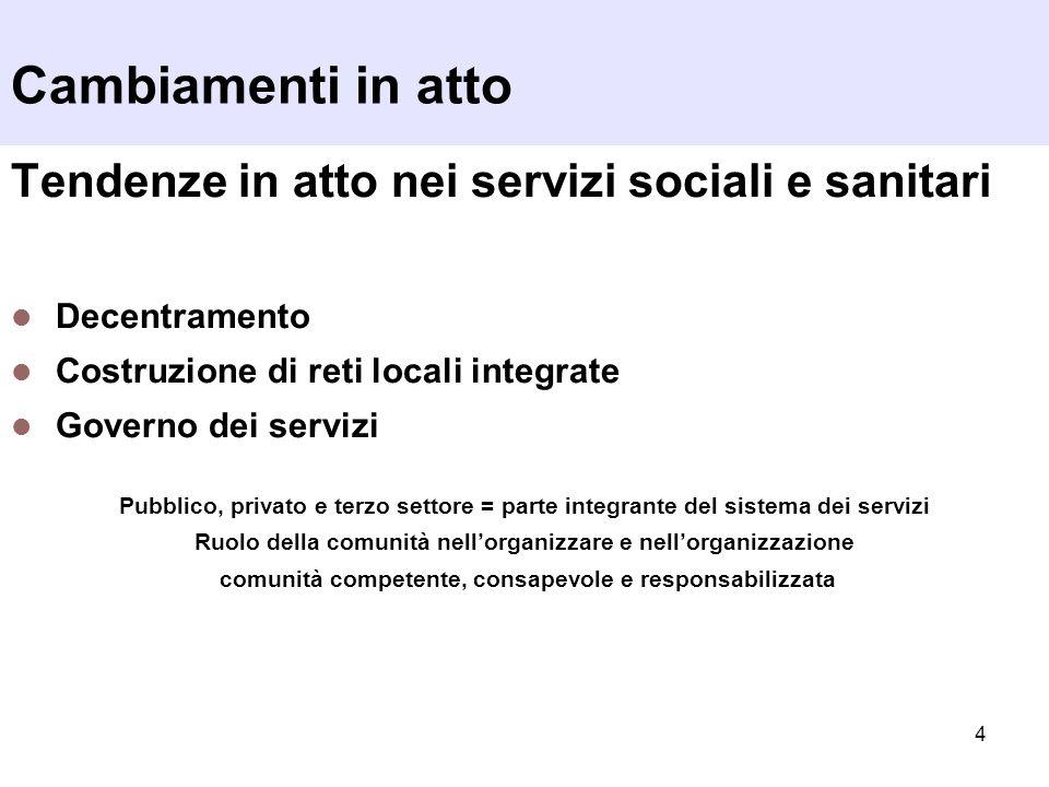 4 Tendenze in atto nei servizi sociali e sanitari Decentramento Costruzione di reti locali integrate Governo dei servizi Pubblico, privato e terzo set