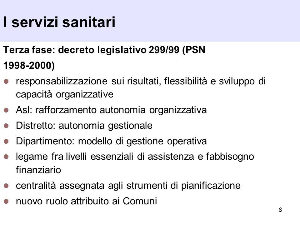 8 I servizi sanitari Terza fase: decreto legislativo 299/99 (PSN 1998-2000) responsabilizzazione sui risultati, flessibilità e sviluppo di capacità or