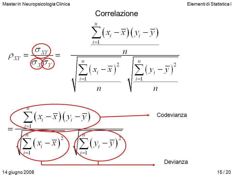 Master in Neuropsicologia ClinicaElementi di Statistica I 14 giugno 200815 / 20 Correlazione Codevianza Devianza