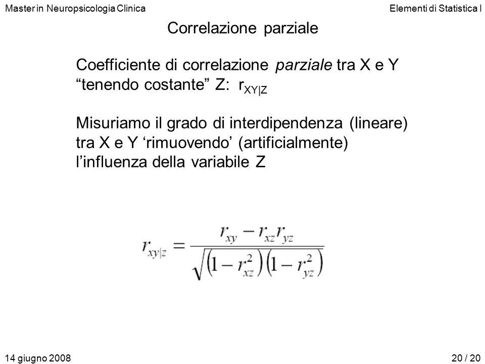 Master in Neuropsicologia ClinicaElementi di Statistica I 14 giugno 200820 / 20 Correlazione parziale Coefficiente di correlazione parziale tra X e Y tenendo costante Z: r XY|Z Misuriamo il grado di interdipendenza (lineare) tra X e Y 'rimuovendo' (artificialmente) l'influenza della variabile Z