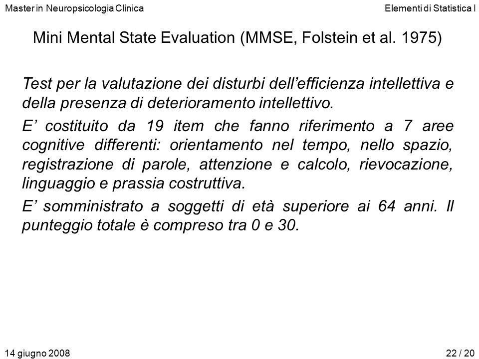 Master in Neuropsicologia ClinicaElementi di Statistica I 14 giugno 200822 / 20 Mini Mental State Evaluation (MMSE, Folstein et al. 1975) Test per la