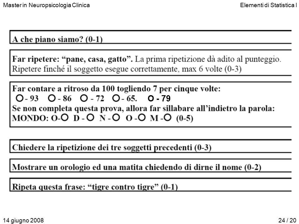 Master in Neuropsicologia ClinicaElementi di Statistica I 14 giugno 200824 / 20 O - 79
