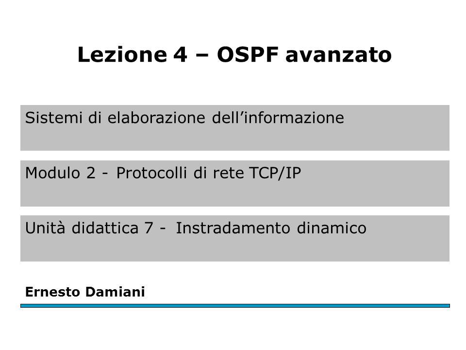 Sistemi di elaborazione dell'informazione Modulo 2 -Protocolli di rete TCP/IP Unità didattica 7 -Instradamento dinamico Ernesto Damiani Lezione 4 – OSPF avanzato