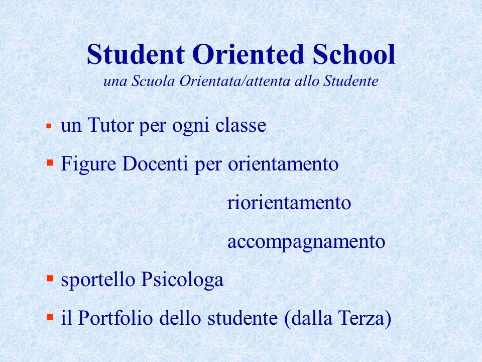 Student Oriented School una Scuola Orientata/attenta allo Studente  un Tutor per ogni classe  Figure Docenti per orientamento riorientamento accompagnamento  sportello Psicologa  il Portfolio dello studente (dalla Terza)