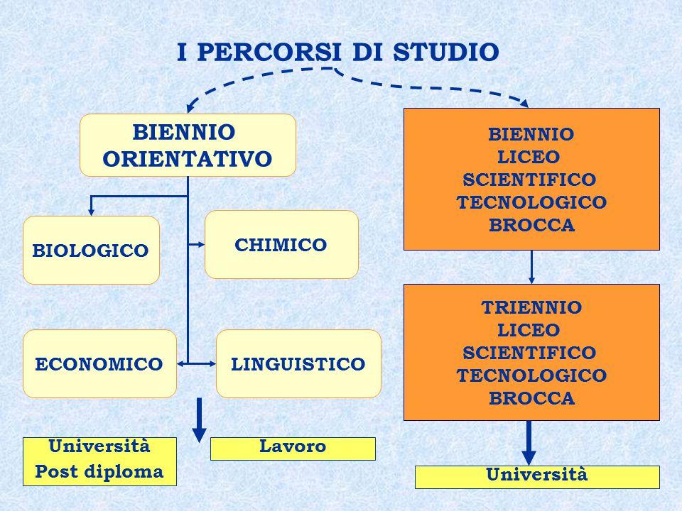 I PERCORSI DI STUDIO CHIMICO BIOLOGICO ECONOMICOLINGUISTICO BIENNIO ORIENTATIVO BIENNIO LICEO SCIENTIFICO TECNOLOGICO BROCCA TRIENNIO LICEO SCIENTIFICO TECNOLOGICO BROCCA Università Post diploma Lavoro Università