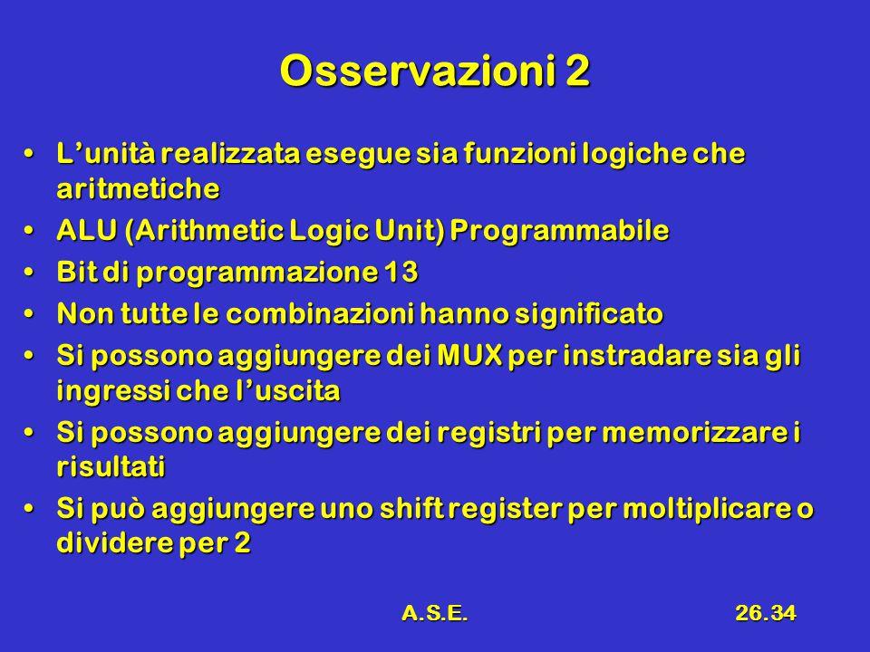 A.S.E.26.34 Osservazioni 2 L'unità realizzata esegue sia funzioni logiche che aritmeticheL'unità realizzata esegue sia funzioni logiche che aritmetiche ALU (Arithmetic Logic Unit) ProgrammabileALU (Arithmetic Logic Unit) Programmabile Bit di programmazione 13Bit di programmazione 13 Non tutte le combinazioni hanno significatoNon tutte le combinazioni hanno significato Si possono aggiungere dei MUX per instradare sia gli ingressi che l'uscitaSi possono aggiungere dei MUX per instradare sia gli ingressi che l'uscita Si possono aggiungere dei registri per memorizzare i risultatiSi possono aggiungere dei registri per memorizzare i risultati Si può aggiungere uno shift register per moltiplicare o dividere per 2Si può aggiungere uno shift register per moltiplicare o dividere per 2