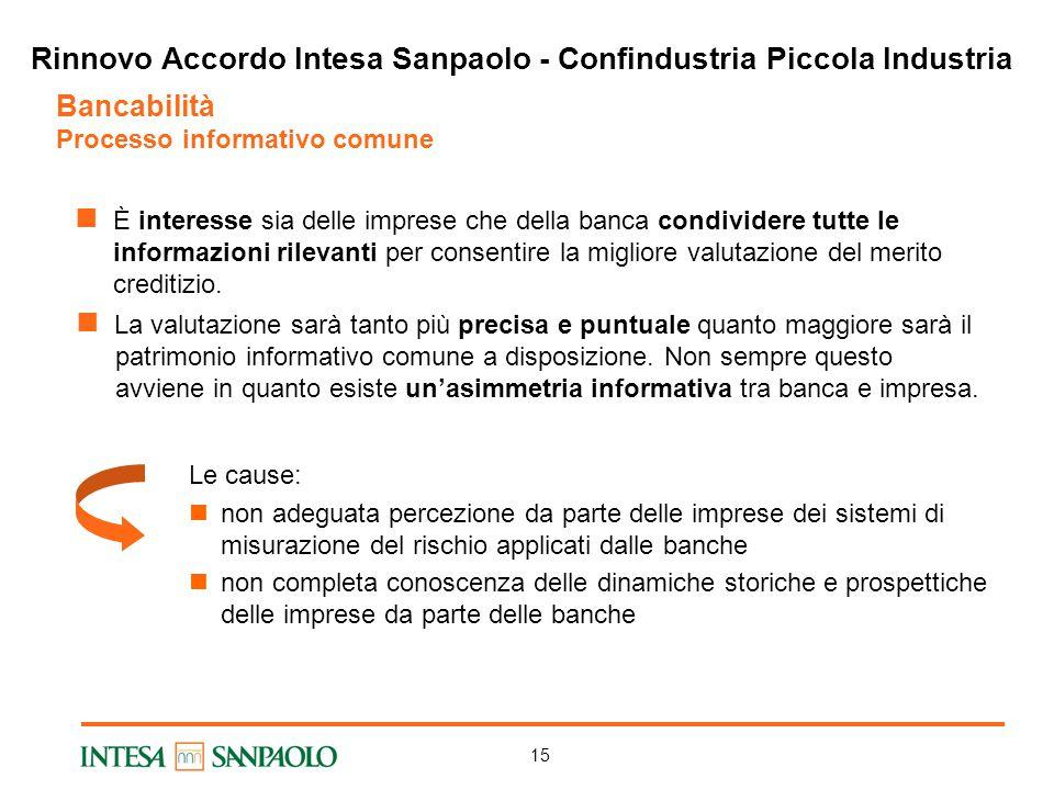 15 Bancabilità Processo informativo comune La valutazione sarà tanto più precisa e puntuale quanto maggiore sarà il patrimonio informativo comune a disposizione.