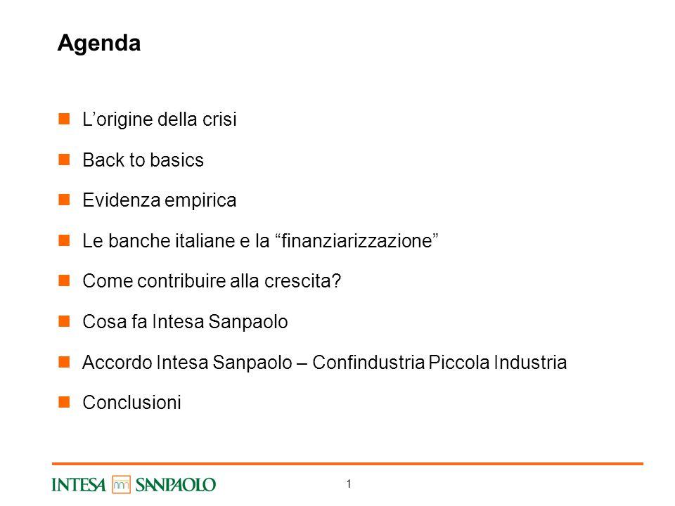 1 Agenda L'origine della crisi Back to basics Evidenza empirica Le banche italiane e la finanziarizzazione Come contribuire alla crescita.