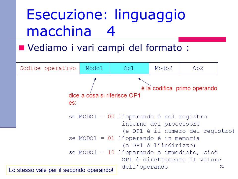31 Esecuzione: linguaggio macchina 4 Vediamo i vari campi del formato : Codice operativoModo1Op1Modo2Op2 è la codifica primo operando dice a cosa si riferisce OP1 es: se MODO1 = 00 l'operando è nel registro interno del processore (e OP1 è il numero del registro) se MODO1 = 01 l'operando è in memoria (e OP1 è l'indirizzo) se MODO1 = 10 l'operando è immediato, cioè OP1 è direttamente il valore dell'operando Lo stesso vale per il secondo operando!