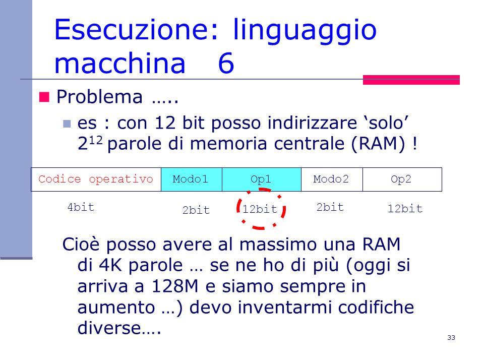 33 Esecuzione: linguaggio macchina 6 Problema …..