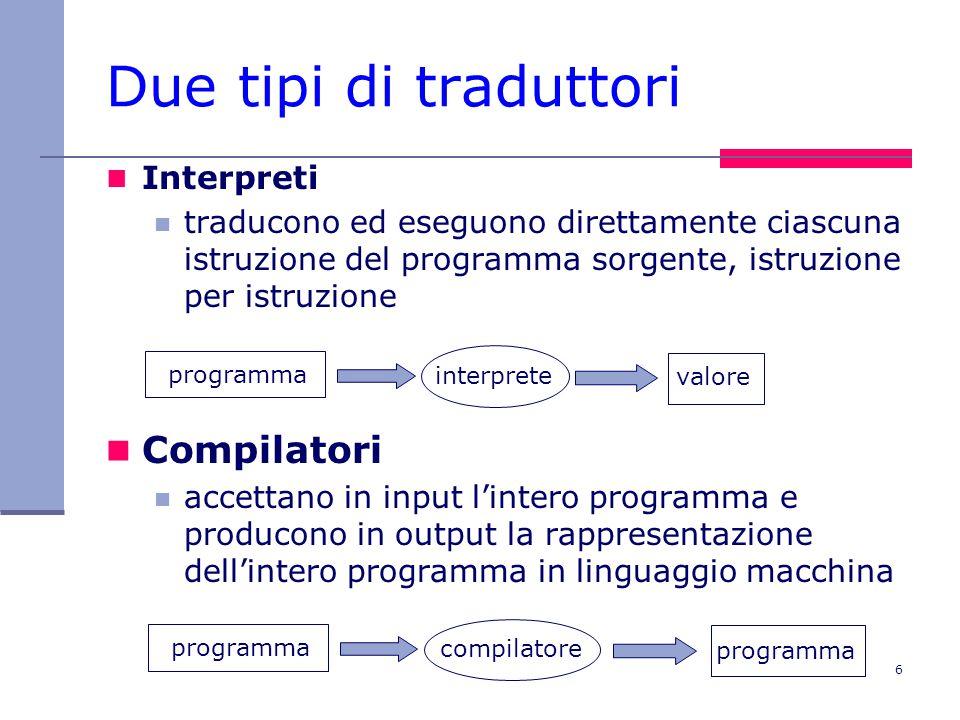 6 Due tipi di traduttori Interpreti traducono ed eseguono direttamente ciascuna istruzione del programma sorgente, istruzione per istruzione Compilatori accettano in input l'intero programma e producono in output la rappresentazione dell'intero programma in linguaggio macchina programma valore interprete programma compilatore