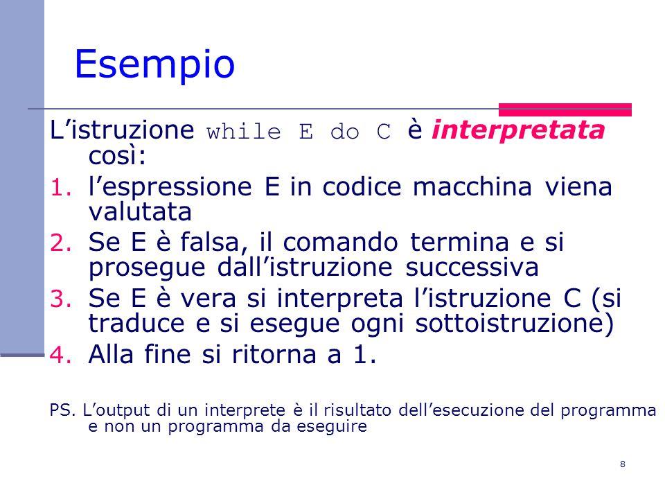 9 Interprete vs compilatore Quale tra le due soluzioni è la migliore.
