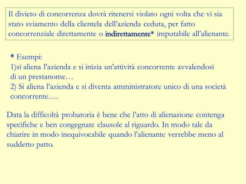 L'art. 2557 c.c contempera due e opposte esigenze: ACQUIRENT E MANTENERE LA CLEINTELA DELL'AZIENDA ACQUISTATA ( AVVIAMENTO SOGGETTIVO) ALIENANTE NON V