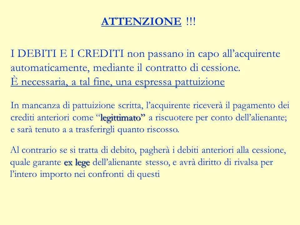 SUCCESSIONE NEI DEBITI ART. 2560 c.c. L'alienante non è liberato dei debiti aziendali, anteriori alla data del trasferimento, se non risulta che i cre