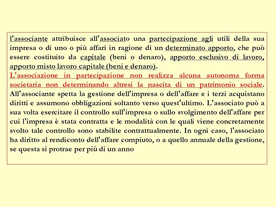 ASSOCIAZIONI IN PARTECIPAZIONI (art. 2549 c.c) L'associante attribuisce all'associato una partecipazione agli utili della sua impresa o di uno o più a