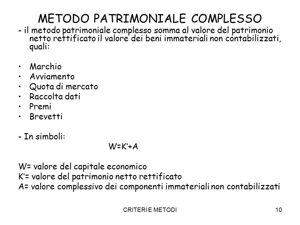 CRITERI E METODI10 METODO PATRIMONIALE COMPLESSO - il metodo patrimoniale complesso somma al valore del patrimonio netto rettificato il valore dei beni immateriali non contabilizzati, quali: Marchio Avviamento Quota di mercato Raccolta dati Premi Brevetti - In simboli: W=K'+A W= valore del capitale economico K'= valore del patrimonio netto rettificato A= valore complessivo dei componenti immateriali non contabilizzati