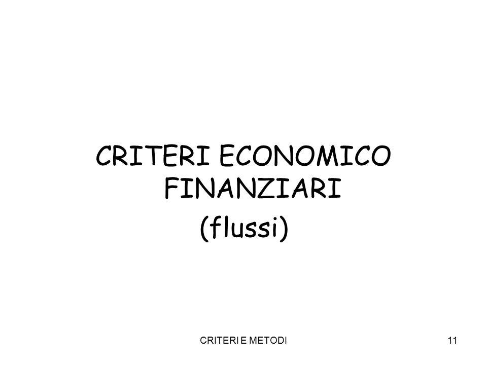 CRITERI E METODI11 CRITERI ECONOMICO FINANZIARI (flussi)