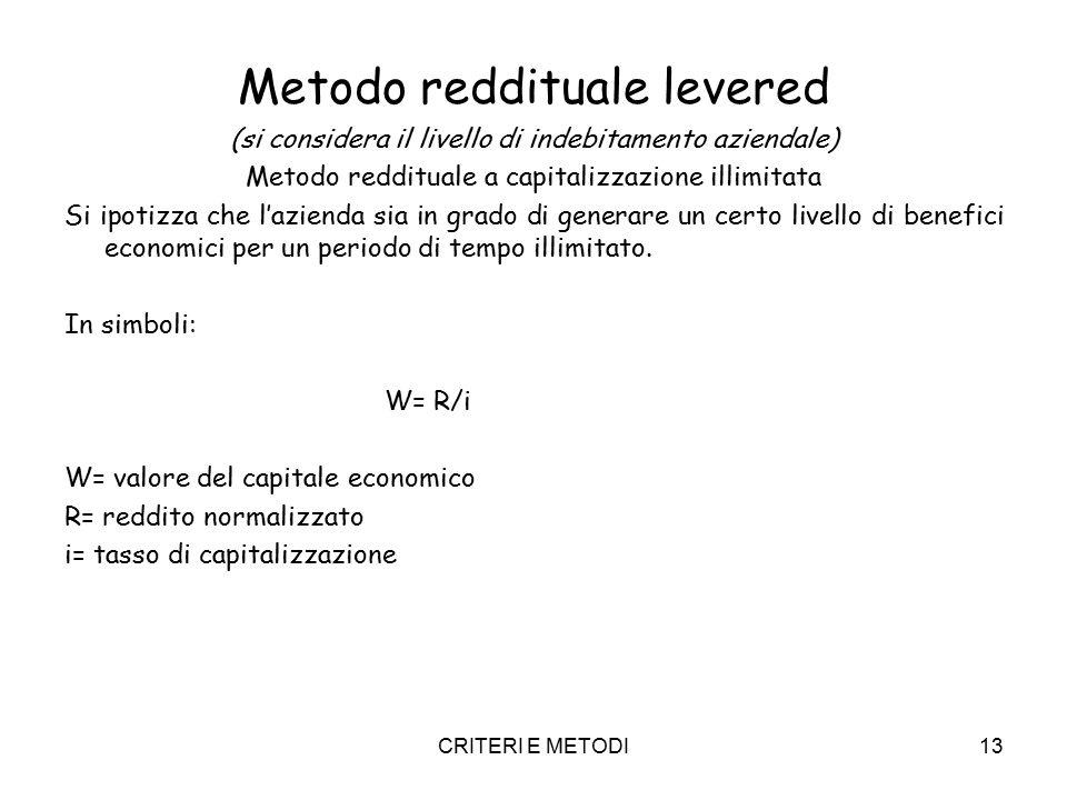 CRITERI E METODI13 Metodo reddituale levered (si considera il livello di indebitamento aziendale) Metodo reddituale a capitalizzazione illimitata Si ipotizza che l'azienda sia in grado di generare un certo livello di benefici economici per un periodo di tempo illimitato.